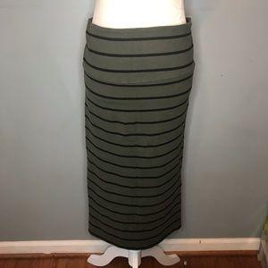 Torrid green and black striped pencil skirt.